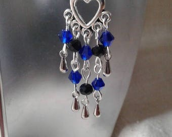 """heart and black beads and blue"" earrings"