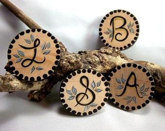 Inital Brooch, Wood Brooch, Initial Pin, Black with Gold Brooch, Personalized, Hand-Painted Initial Pin, Made to Order, Round Wood Brooch