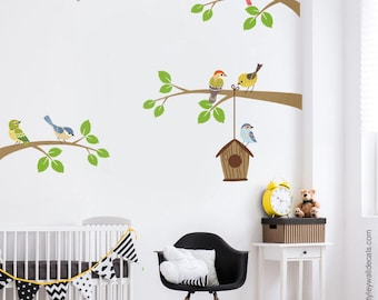 Birds Wall Decal, Branch Wall Decal, Branch and Birds Wall Sticker, Bird House Wall Decal, Birds Nursery Decor, Baby Room Kids Wall Decals