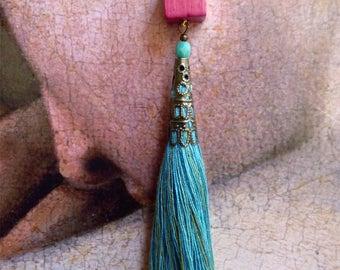 Turquoise tassel, fuchsia cube earrings