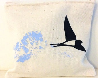 Zipper pouch Swallow in Powder Blue-Prussian Blue