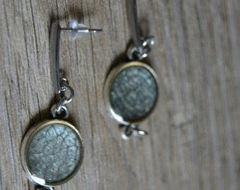 Silver earrings - Gray dangle earrings - Cabochon earrings - Ash gray silver earrings