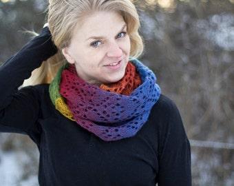 Heartfelt - pattern for knit lace infinity shawl, wool rainbow ull cowl scarf hearts heart
