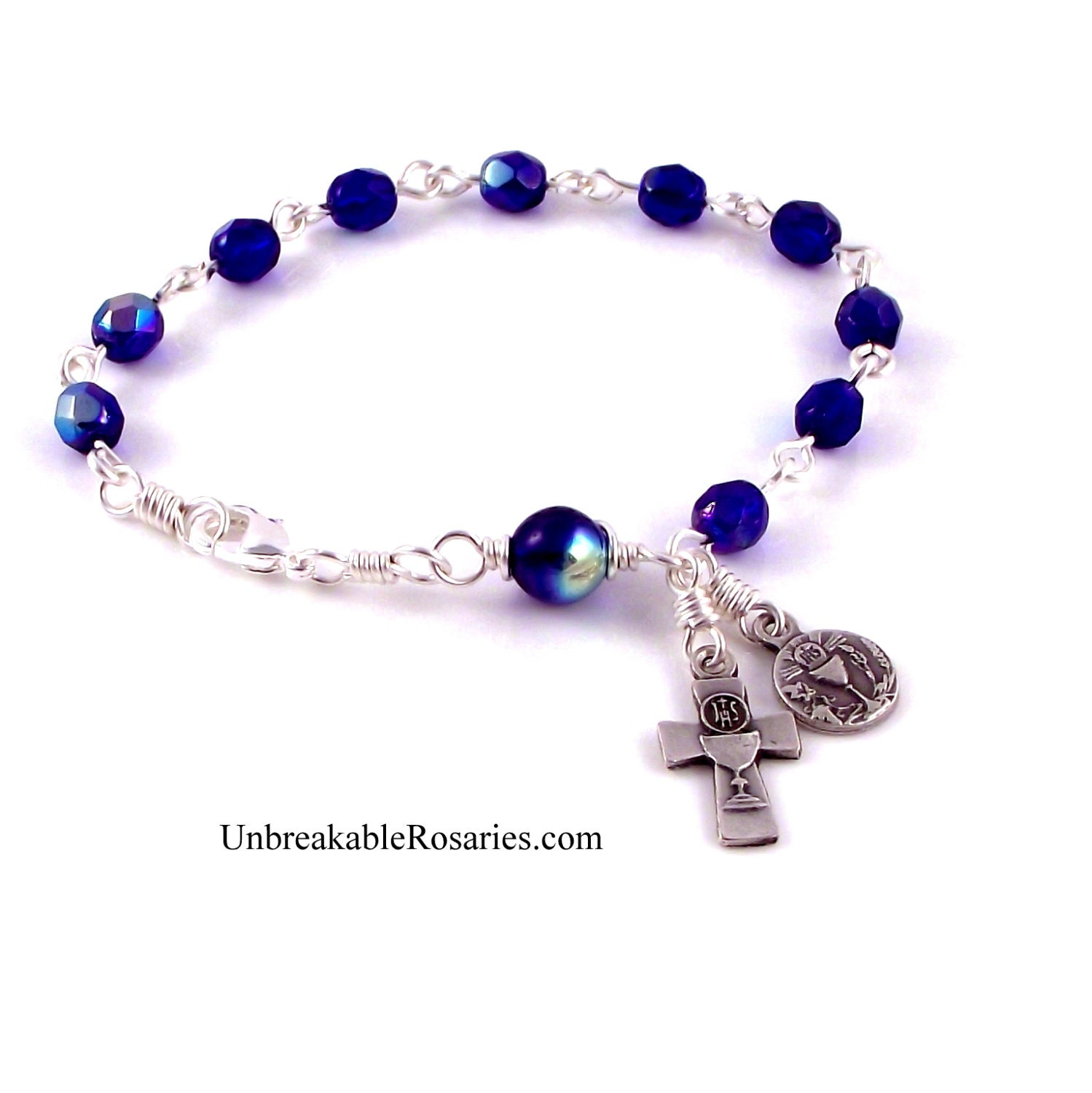 Holy Communion Rosary Bracelet Fire Polished Blue Czech Glass
