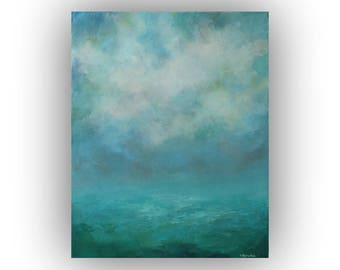 Palette Knife Painting on Canvas, Abstract Landscape Oil Painting, Original 16 x 20 Modern Cloud Art, Blue and Green Abstract Sky Art