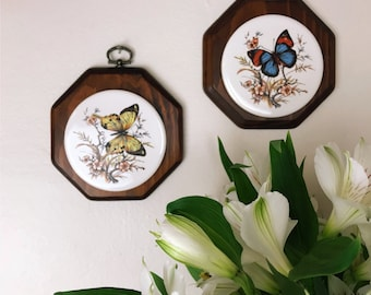 Butterfly Wall Plaques// Vintage Wall Decor// Butterfly Decor