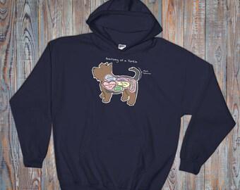 Anatomy of a Yorkie - Funny Yorkshire Terrier Dog Hoodie - Dark Colors - Hooded Sweatshirt