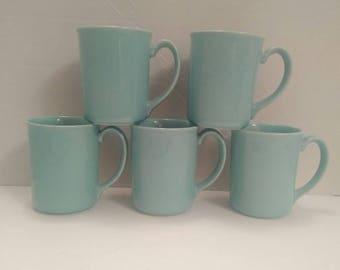 Set of 5 vintage Teal/Aqua Corning Coffee Mugs