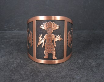 Wide Vintage Copper Kachina Cuff Bracelet 6.5 Inches Bell Trading