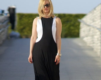 Maxi Dress, Women Dress, Kaftan Dress, Black White Dress, Long Dress, Casual Dress, Elegant Dress, Plus Size Gown, Tank Dress,Straight Dress