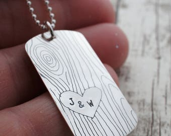 Wood Grain Dog Tag Necklace in Sterling Silver - Faux Bois Woodland Jewelry - Personalized Gifts for Him