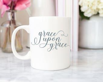 Scripture Mug / Godly Mug / Personalized Mug / Cute Mug / Christian Mugs / Custom Mug / Grace Upon Grace Mug / Personalized Mug / INM-29