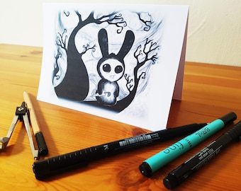 Gothic Rabbit in the Woods, Card illustration, Black and White
