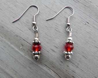 Red Beaded Earrings - Surgical Steel Fish Hook Earrings