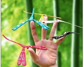 Dragonfly Hand Carved Painted Self Balancing Bamboo Gift Wooden Toy