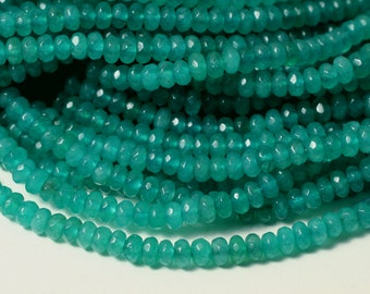 Candy jade faceted rondelle 4mm lake blue, 15-inch strand (item ID CJRN4LB)