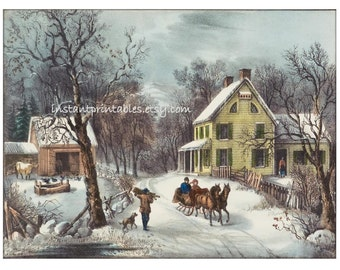 Winter Scene Landscape 8x10 Art Print INSTANT DOWNLOAD vintage victorian Instant Printables Currier Ives Gift Grandma Mom unique 5x7