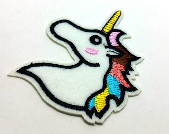 1 x badge embroidered - Unicorn magic. Unicorn - sewing Knitting Crochet