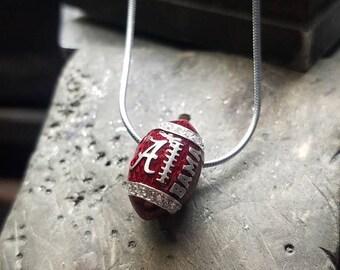 University of Alabama, Necklace, Pendant, Jewelry, Charm, Roll tide, Crimson, Bama, Diamond, Football, Officially Licensed
