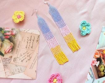 Very long multicolor seed bead earrings, Long summer earrings, Multicolor earrings, Colorful earrings