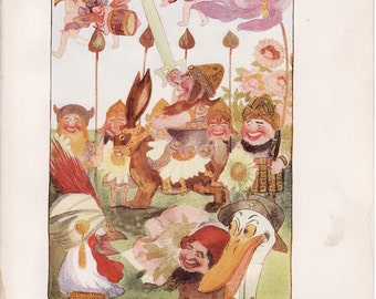 Antique Victorian Art Print-Book Plate-Lithograph-Fairies-Happy Soldier Fairies-Artist Penny Ross-1914