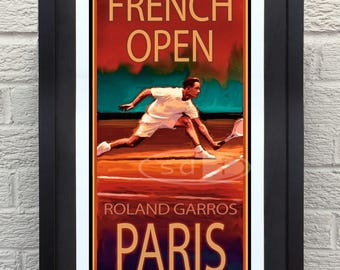 French Open tennis sports art poster print