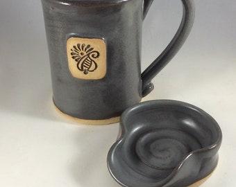 Coffee Mug and Teaspoon Rest Set, Ceramic Mug and Spoonrest Set in Steel Grey