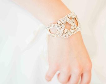 Bride rhinestone Cuff Bracelet - retro vintage