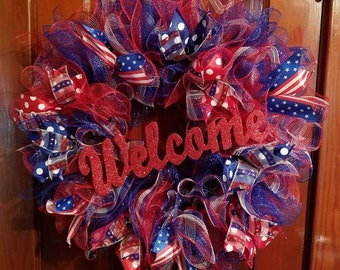 Welcome Patriotic Wreath. Large 24 in