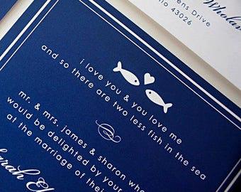 Physical Sample Fish Wedding Invitation