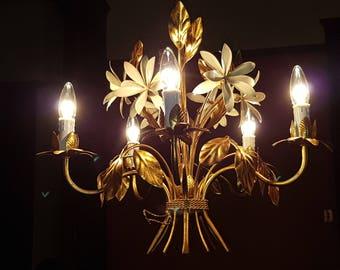 Antique French chandelier TOLE (gold leaf and cloissone). 1930's Vintage gilt gilded ART DECO