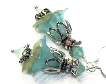 Lucite Flower Earrings - Pale blue and green Victorian earrings - Silver bead caps - Swarovski Rondelles