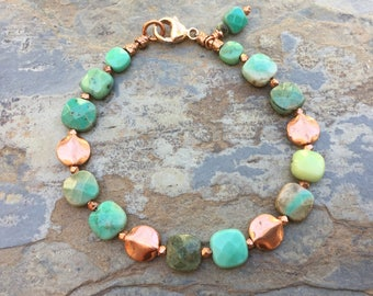 Green Moss Opal and Copper Bracelet, Choose your size.
