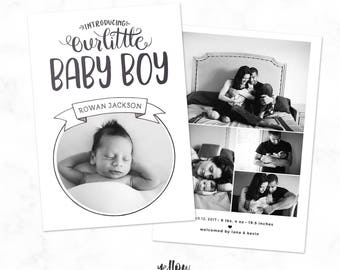 Baby Girl Announcement - Baby Boy Announcement - Handlettered announcement - Photoshop Template - Newborn Photography - Photo Card - Baby