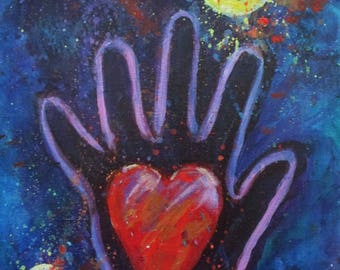 Heart in Hand Original One of a Kind Acrylic Painting 8 x 10 carolsuzannestudio