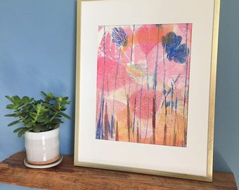Botanical monotype print, abstract floral monotype with mat