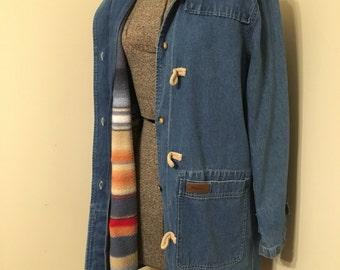Vintage Denim Jacket with removable vest / Denim Jacket / Toggles / Hooded Jacket / Jean Jacket / Denim & Co. / Chambray / 1990s coat