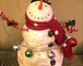 "18""  Snowman Vintage Handmade Snowman"
