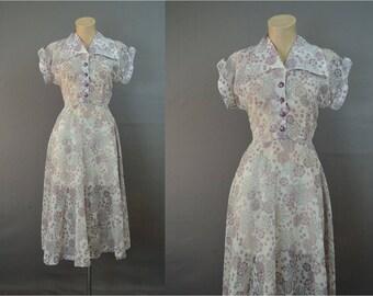 Vintage 1950s Sheer Dress fits 35 bust, White, Black & Pink Chiffon, Rhinestone buttons, Day dress