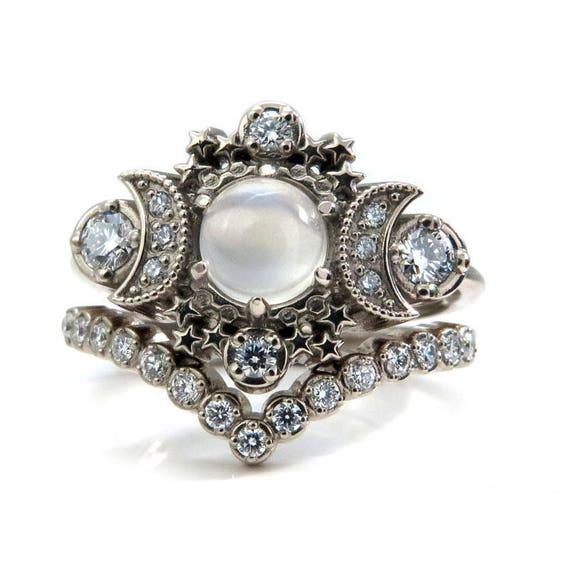 Moonstone Moon and Star Engagement Ring Set - Diamond Boho 14k Gold Stacking Rings