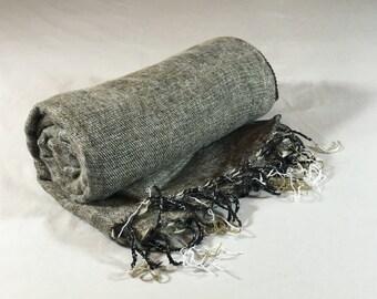 Nepalese Hand-Loomed Yak Wool Blanket,Throw,Shawl- Smoke Screen Gray/ Gold & Black