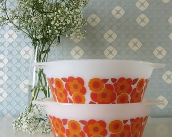 Two Vintage Arcopal Casserole Dishes with Orange and Red Floral Design Lotus 70s