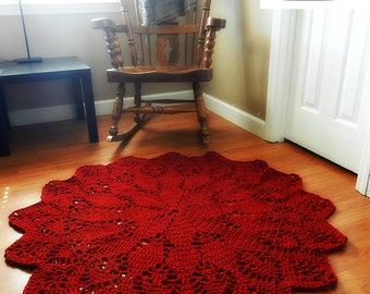 Large Crochet Doily Area Rug, Dark Cherry Ruby Red Round carpet, Boho Chic floor mat, French Provincial Cottage decor, Shabby Country Rustic