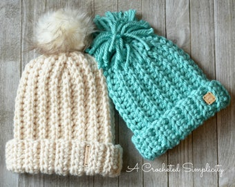 Crochet Pattern: Knit-Look Super Bulky Slouch, Adult & Kids - Permission to sell finished items
