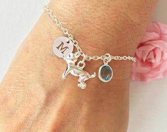 Dog bracelet, silver Dog bracelet, puppy bracelet, Dog jewellery, Dog jewelry, silver Dog , silver bracelet, birthday gift,Dog