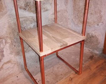 Bedside table in copper and oak