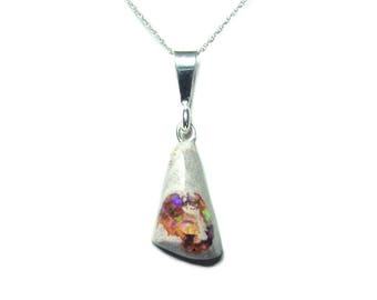Mexican Fire Opal sterling silver pendant and chain