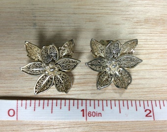 Sterling 925 Silver Tested Clip On Filigree Flower Earrings Germany Used Needs Cleaned