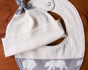 Gray Bear Hike Baby Hat and Bib Gift Set for Boys, Girls; Woodland Newborn Baby Cap, Drool Bib; Organic Cotton Baby Gift; Handmade in Canada