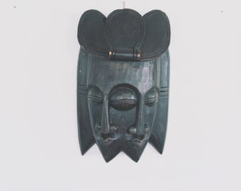 Vintage African Wood Mask [ Hand carved ] Large Figure / Ethnic-Ready to hang-Large Wall Hanging-Office-Home Decor-Art-Wood Sculpture-Masks